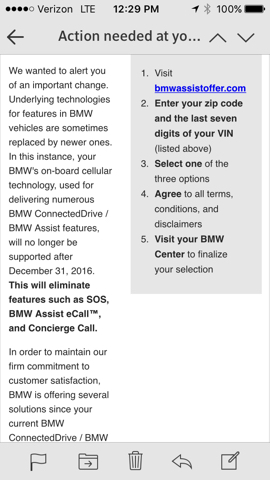 BMW Assist CIC no longer supported by BMW