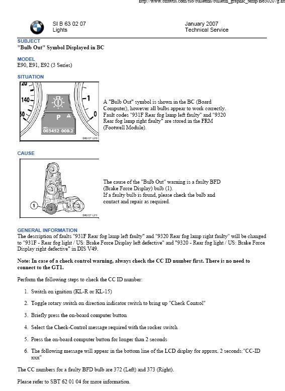 Bulb failure codes?? - BMW 3-Series (E90 E92) Forum