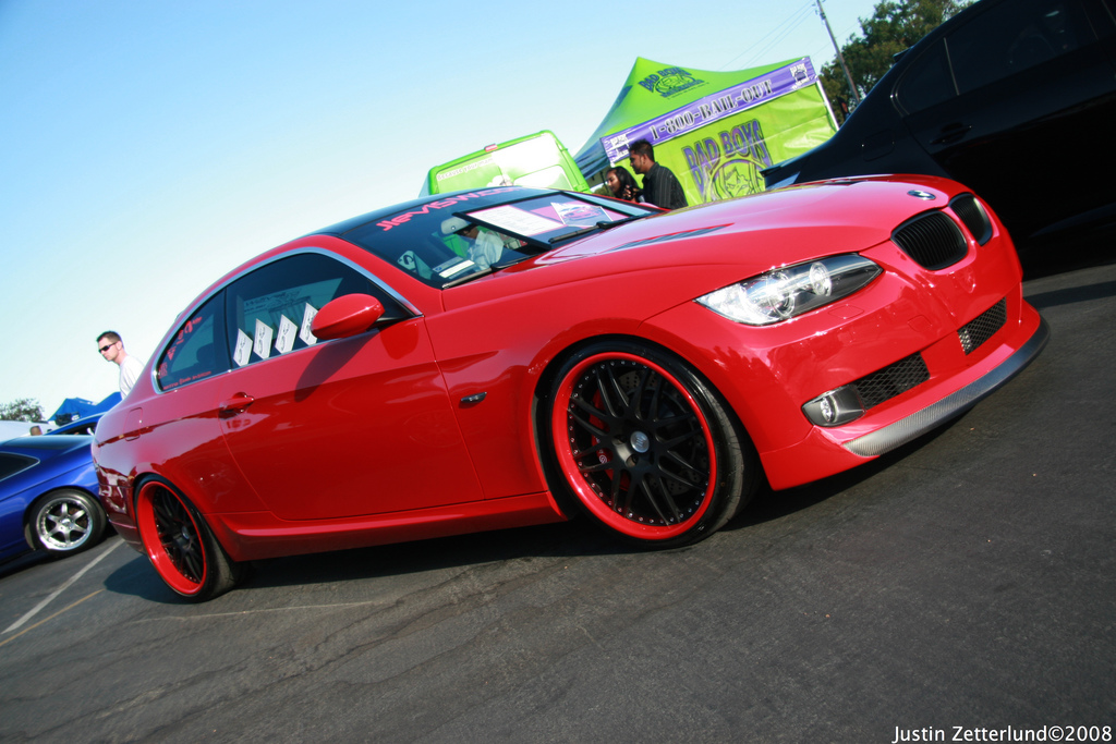 E92 Crimson Red Cf Bodykits Black Rims