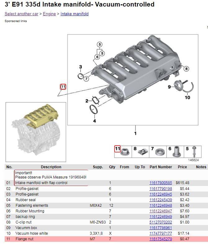 BMW M47 M57 Engine Intake Manifold Bolt Sleeve 2246947 11612246947