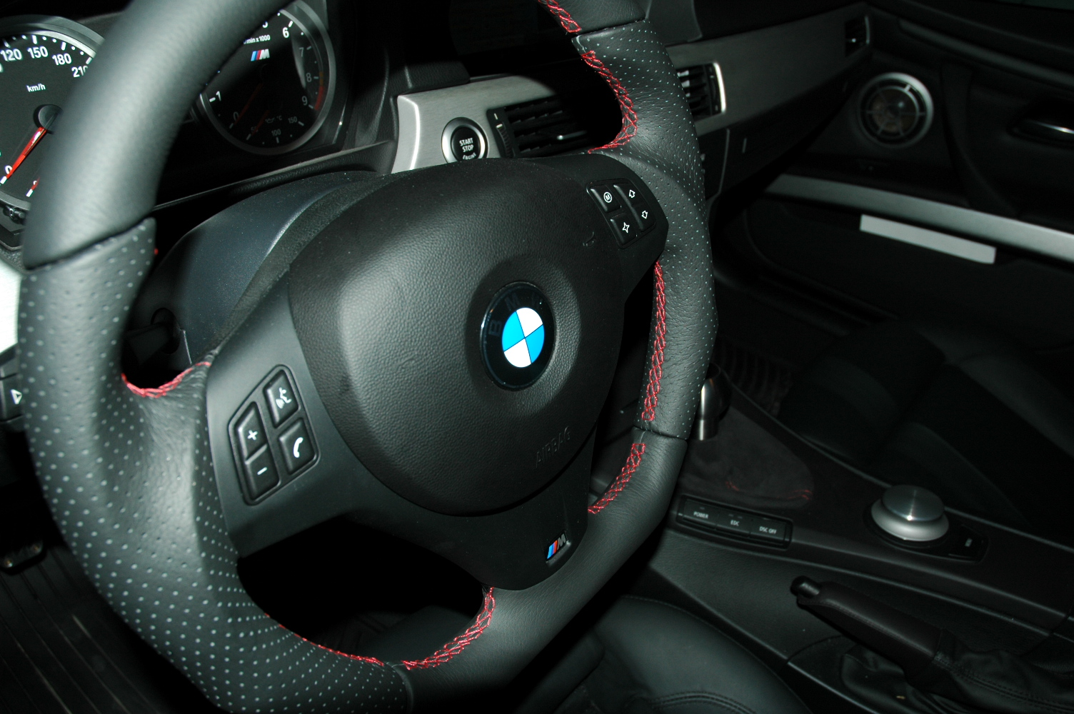 Fs Flat Bottom Steering Wheel With Red Stitching
