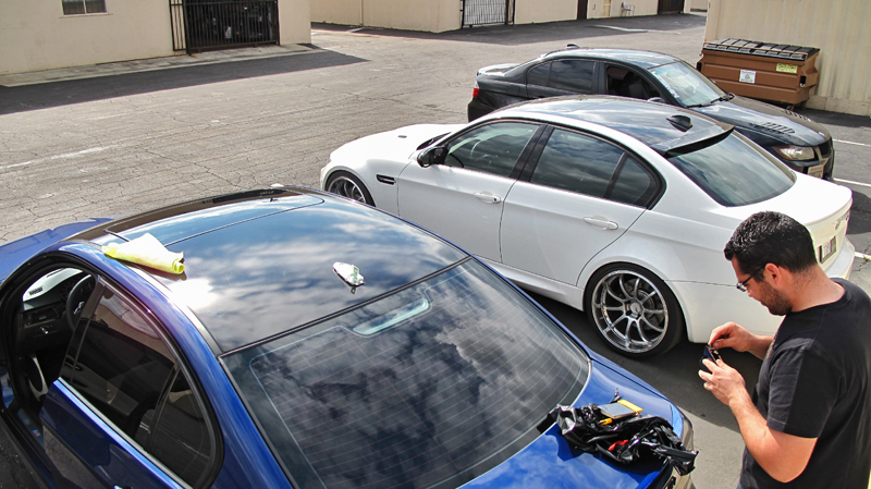Another Black Gloss Roof Wrap Lemans Blue E90
