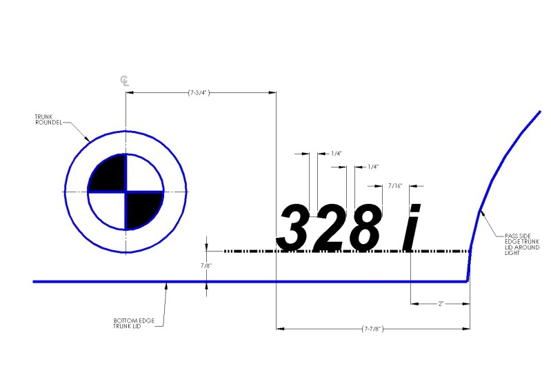 BMW E91 335d badge placement template/measurements