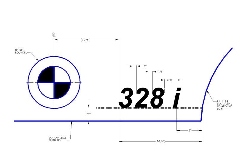 BMW E91 335d badge placement template/measurements