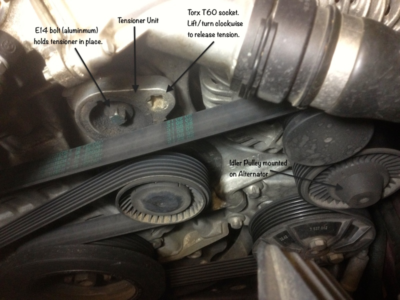 DIY-Replacing N52 tensioner, idler pulley and serpentine